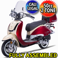 Znen 2 Tone 50cc 4 Stroke Gas Moped Scooter - ZNQ50-TG