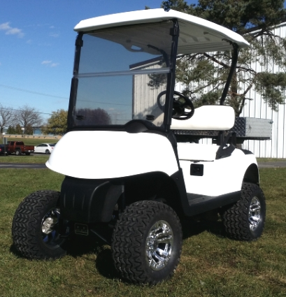 ez-go gas golf cart rxv lifted 13 hp kawasaki with utility bed and custom  rims & tires