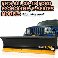 Fits All Ford Econoline/E-Series 08-13(full size van) Models - Meyer Home Plow Hydraulically-Powered Lift w/Both Wireless & Wired Controllers - Auto-Angle Snow Plow