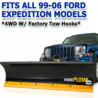 Fits All Ford Expedition 99-06(4wd w/ factory tow hooks) Models - Meyer Home Plow Hydraulically-Powered Lift w/Both Wireless & Wired Controllers - Auto-Angle Snow Plow