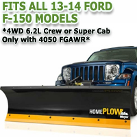 Fits All Ford F150 13-14 Models - Meyer Home Plow Hydraulically-Powered Lift w/Both Wireless & Wired Controllers - Auto-Angle Snow Plow - 4wd 6.2L Crew or Super Cab w/ 4050 FGAWR Only