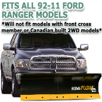 Fits All Ford Ranger 92-11 Models - Meyer Home Plow Basic Electric Lift Snowplow