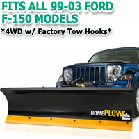 Fits All Ford F150 99-03 Models - Meyer Home Plow Hydraulically-Powered Lift w/Both Wireless & Wired Controllers - Auto-Angle Snow Plow - 4wd w/Factory Tow Hooks