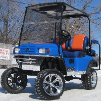 EZ-GO Custom Blue With Orange & Silver Lifted Electric Golf Cart