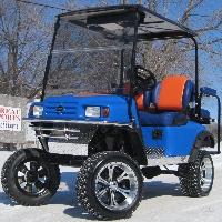 EZ-GO Custom Blue With Orange & Silver Lifted Electric Golf Cart