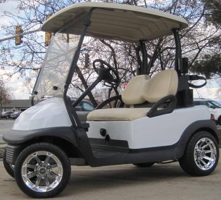 48V Club Car Precedent w/ Chrome Rims - Moonlight White & Club Car Precedent w/ Chrome Rims - Moonlight White