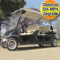 48V 6 Passenger Stretch Club Car Precedent w/ Chrome Rims - Jet Black