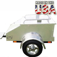 "Motorcycle/Car Pull Behind Trailer 48"" X 28"" X 19"" Aluminum Diamond Plate Enclosed Motorcycle / Car Trailer"