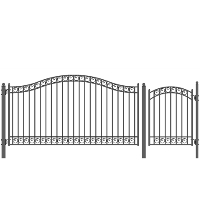 Dublin Style Single Iron Driveway Gate 12' X 4' with Pedestrian Gate