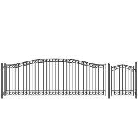 Dublin Style Single Iron Driveway Gate 18' X 4' with Pedestrian Gate
