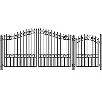 London Style Swing Dual Steel Driveway 12 ft w/4 ft Pedestrian Gate
