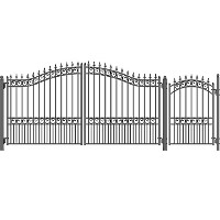 London Style Swing Dual Steel Driveway 14 ft w/4 ft Pedestrian Gate