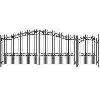 London Style Swing Dual Steel Driveway 16 ft w/4 ft Pedestrian Gate