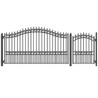 London Style Single Swing Steel Driveway 12 ft w/4 ft Pedestrian Gate