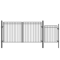 MADRID Style Steel Swing Dual Driveway 12' x 4' with Pedestrian Gate