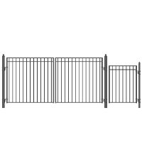 MADRID Style Steel Swing Dual Driveway 14' x 4' with Pedestrian Gate