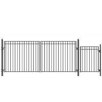 MADRID Style Steel Swing Dual Driveway 16' x 4' with Pedestrian Gate