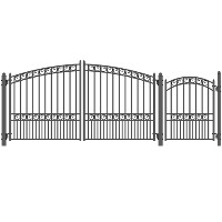 Brand New Paris Style Swing Dual Steel Driveway 12 ft w/4 ft Pedestrian Gate