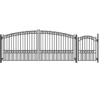 Brand New Paris Style Swing Dual Steel Driveway 14 ft w/4 ft Pedestrian Gate