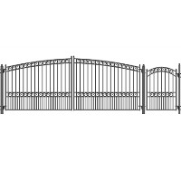 Brand New Paris Style Swing Dual Steel Driveway 18 ft w/4 ft Pedestrian Gate