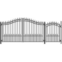 Prague Swing Dual Steel Driveway Gates 12 ft w/4 ft Pedestrian Gate