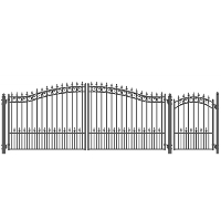 Prague Swing Dual Steel Driveway Gates 16 ft w/4 ft Pedestrian Gate