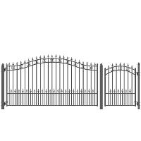 ST. PETERSBURG Style Steel Swing Single Driveway 12' x 4' with Pedestrian Gate