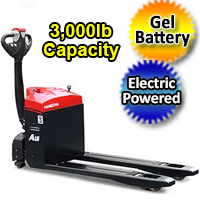 Electric Powered Pallet Jack - Gel Battery Motorized 3,000 lb. Capacity Pallet Truck - AW15