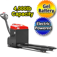 Electric Powered Pallet Jack - Gel Battery Motorized 4,000 lb. Capacity Pallet Truck - AW20S