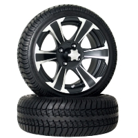 4 Brand New 205x30-14 Ultra GT Tires on 14x6 SS312 Black Alloy Golf Cart Wheels