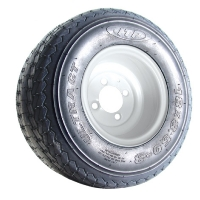 4 Brand New 205x50-10 Iona Driver Tires on 10x7 Split 8 Spoke Spider MF Gunmetal Golf Cart Wheels