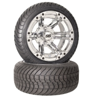 4 Brand New 215x35-12 Achieva Tires on 12x7 4/4 2+5 o/s SS212 Alloy Chrome Golf Cart Wheels
