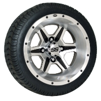 4 Brand New 205x30-12 Ultra GT Tires on 12x7 o/s SS106 Alloy 6 Spk MF Golf Cart Wheels