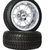 4 Brand New 205x30-12 Ultra GT Tires on 12x7 4/4 SS112 Alloy 12 Spoke Chrome Golf Cart Wheels