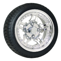 4 Brand New 205x30-12 Ultra GT Tires on 12x7 Supernova Vacuum Chrome Finish Golf Cart Wheels