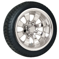 4 Brand New 205x30-12 Ultra GT Tires on 12x7 Full 8 Spoke Spider Polished Golf Cart Wheels