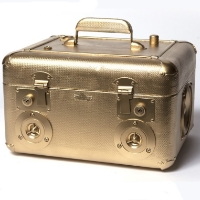 Boom Box Boom Suit Case Gold Standard Speaker Traincase Rechargeable Bluetooth Suitcase