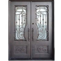 "61.5"" x 81"" Oper-Able Tempered Dual-Pan Glasses Classic Wrought Iron Entry Doors"