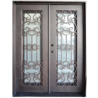 "61.5"" x 81"" Oper-Able Tempered Dual-Pan Glasses Wrought Iron Entry Doors"