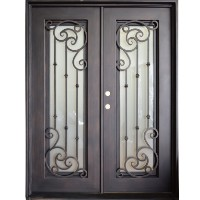 "61.5"" x 81"" Oper-Able Tempered Dual-Pan Glasses Elegant Wrought Iron Entry Doors"