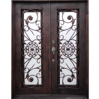 "61.5"" x 81"" Oper-Able Tempered Dual-Pan Glasses Dark Wrought Iron Entry Doors"
