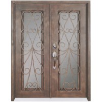 "61.5"" x 81"" Oper-Able Tempered Dual-Pan Glasses Frosted Wrought Iron Entry Doors"