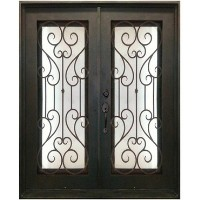 "61.5"" x 81"" Oper-Able Tempered Dual-Pan Glasses Noble Wrought Iron Entry Doors"