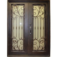 "61.5"" x 81"" Oper-Able Tempered Dual-Pan Glasses Stylish Wrought Iron Entry Doors"
