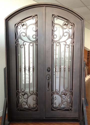 61 5 X 96 Eyebrow Arch Top Wrought Iron Entry Double Door Unit
