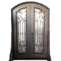 "61.5"" x 96"" Eyebrow Arch Top Wrought Iron Entry Double Door Unit"