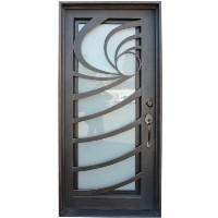 38 in. X 81 in. Single Wrought Iron Entry Door Wave Tempered Frosted Glass