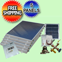 Complete 5 Panel EZ-Connect Solar Water Heater Kit - 077.0051
