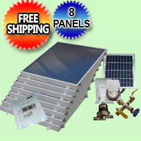 Complete 8 Panel EZ-Connect Solar Water Heater Kit - 077.0054