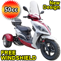 50cc 4 Stroke Automatic 3 Wheel Trike Scooter Moped - TRI030